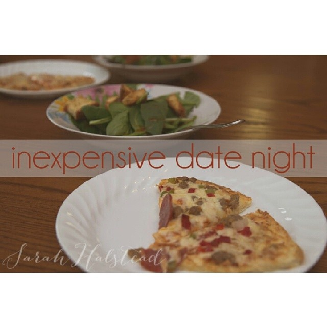 Kenny and I had an inexpensive date night at home. Sharing all about it on my blog sarahhalstead.com #tonyspizzeria #pmedia #ad