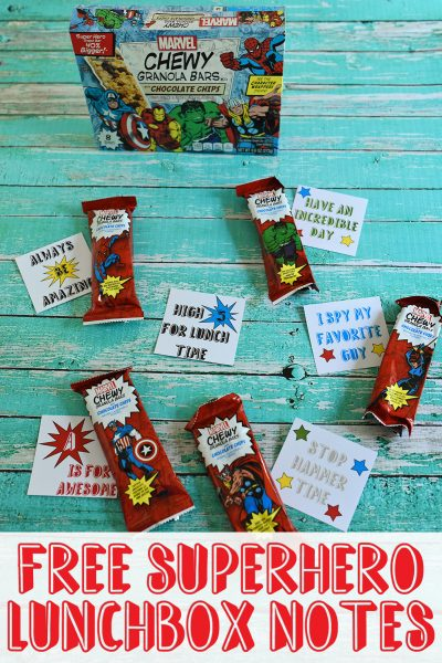 Free Superhero Lunchbox Notes