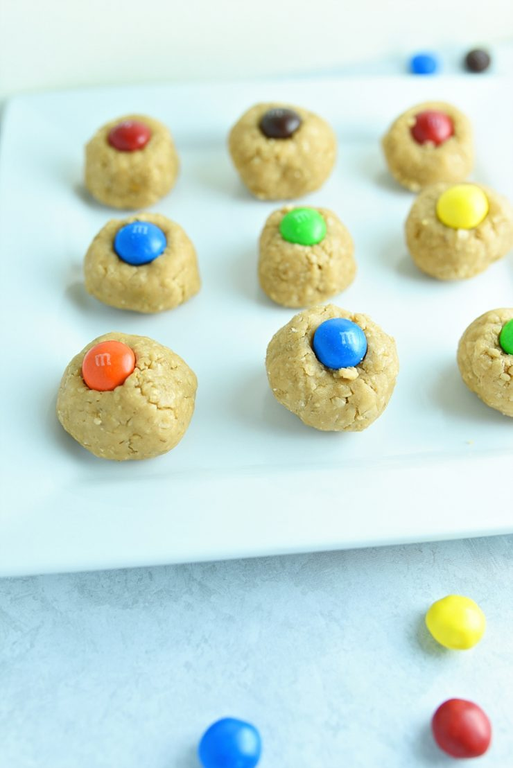 M&M No Bake Peanut Butter Bites
