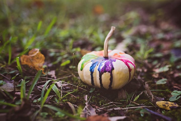 Colorful Melted Crayon Pumpkin