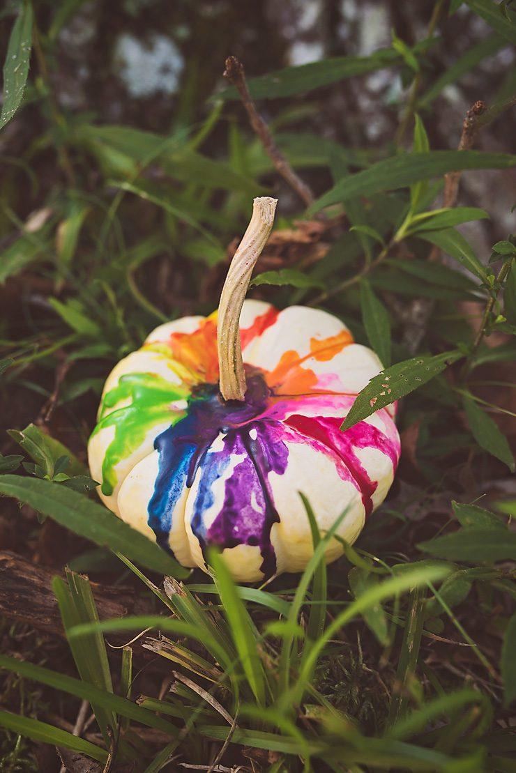 Colorful Crayon Drip Pumpkin
