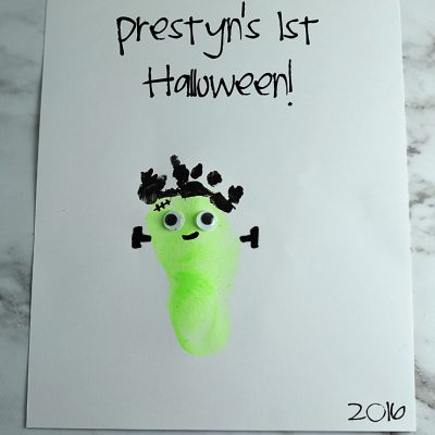 Frankenstein Footprint Art