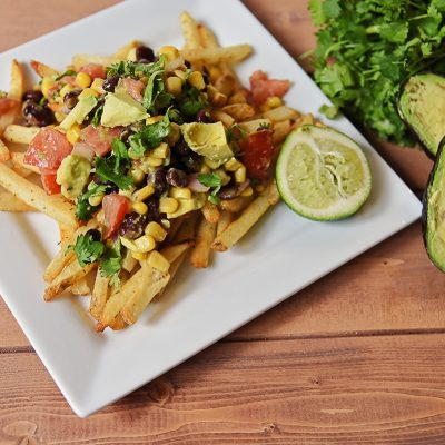 Avocado Black Bean Salsa Topped Fries