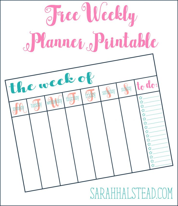photo relating to Printable Stuff referred to as Cost-free Weekly Planner Printable Sarah Halstead