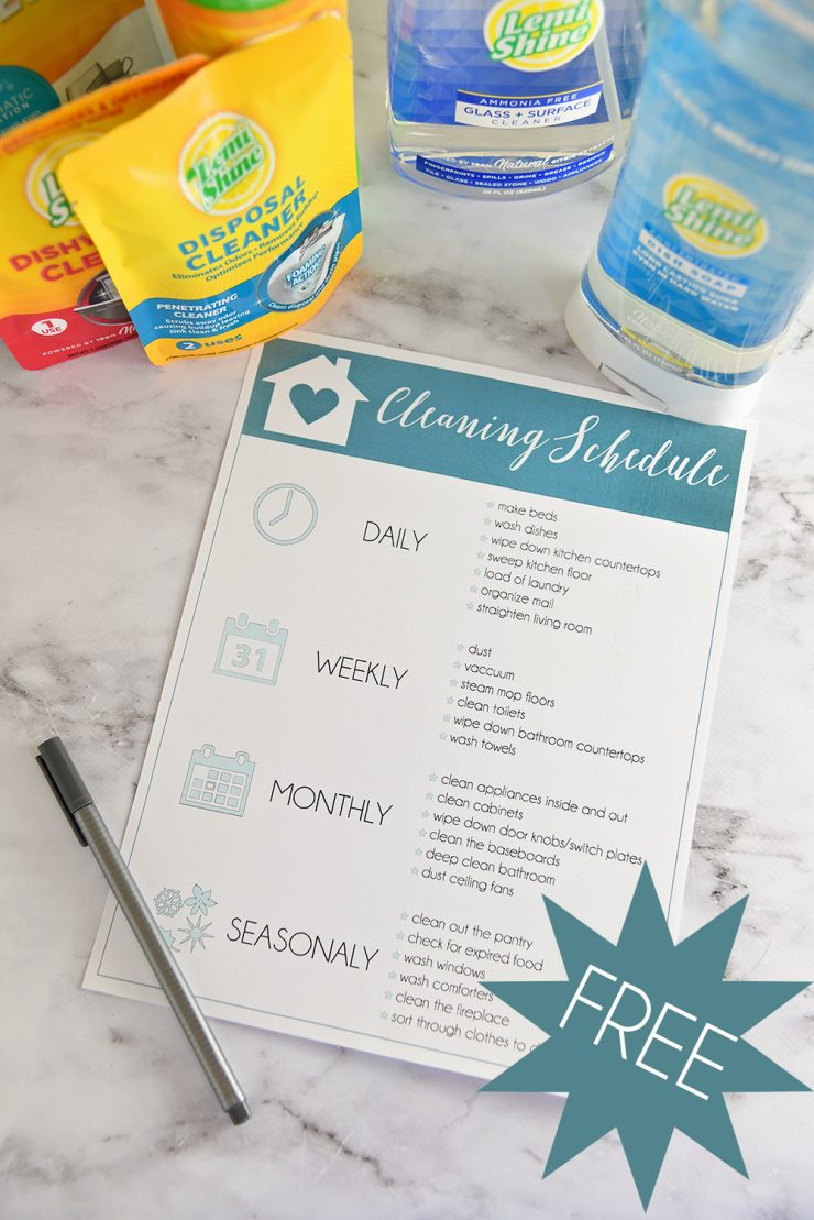 Free Cleaning Schedule Printable