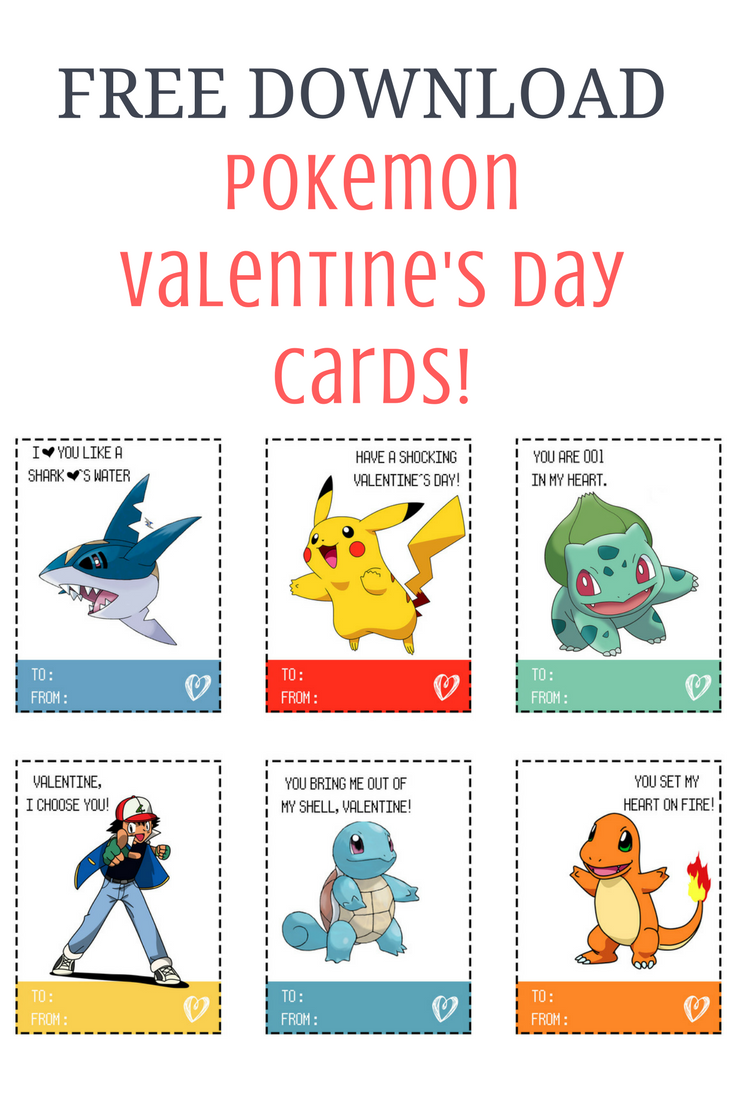 graphic relating to Free Printable Pokemon Cards identify Pokemon Valentines Working day Playing cards Sarah Halstead