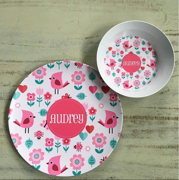 Personalized Plate and Bowl from Lovey Dovey Kids