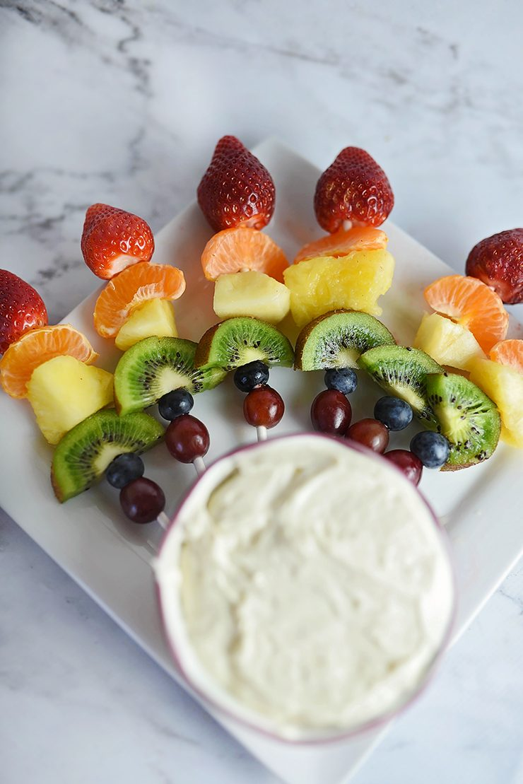 Rainbow Fruit Skewers with Cream Cheese Dip