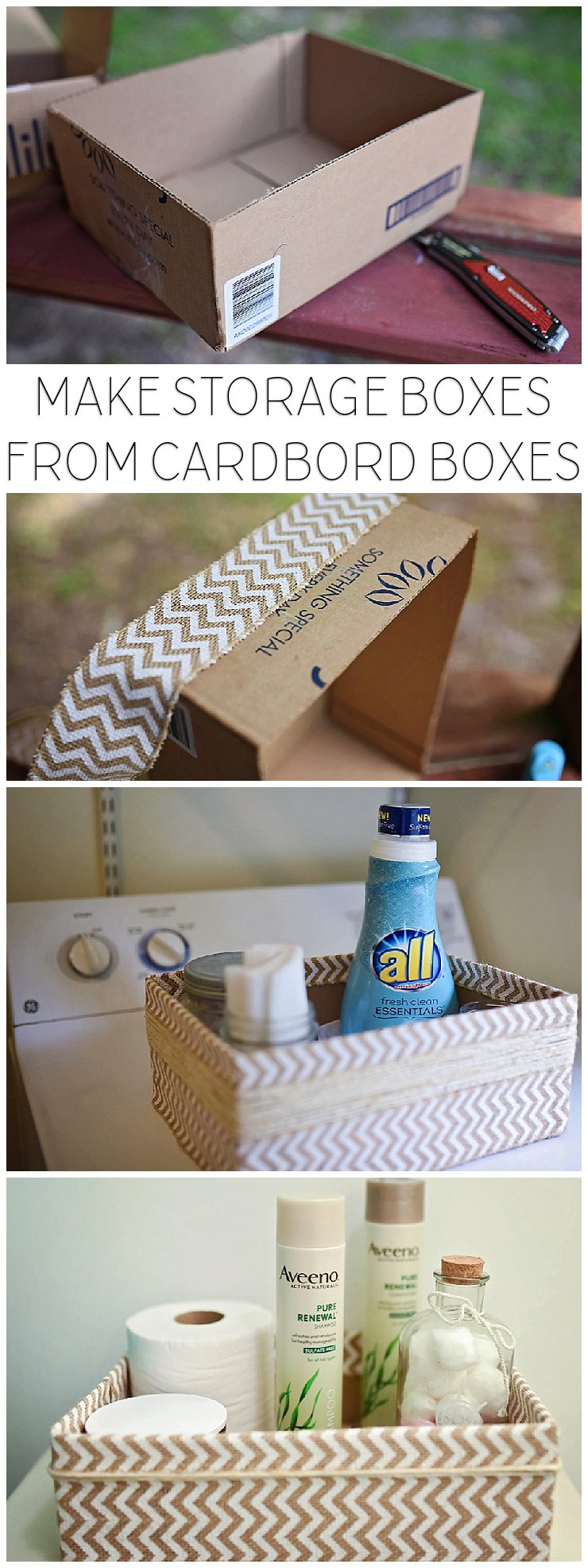 Upcycled Cardboard Boxes Into Storage Boxes