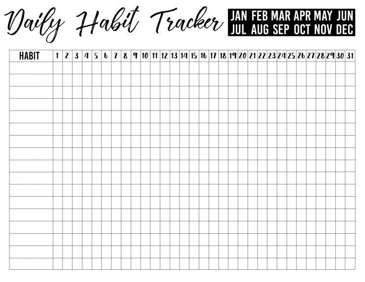Nerdy image pertaining to daily habit tracker printable