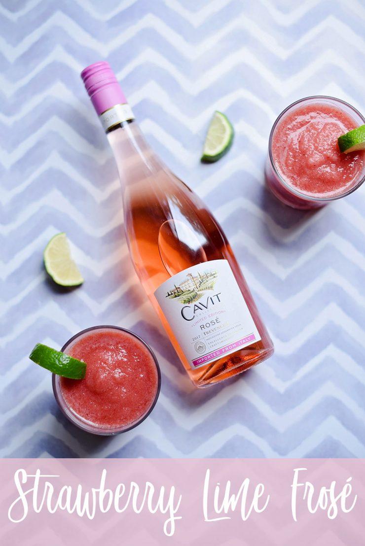 Strawberry Lime Frosé {Frozen Rosé}