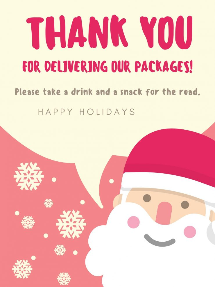 Delivery Driver Gift Free Printable Sign